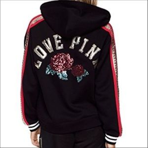 VS Victoria's Secret Love Pink Rose Sequin hoodie